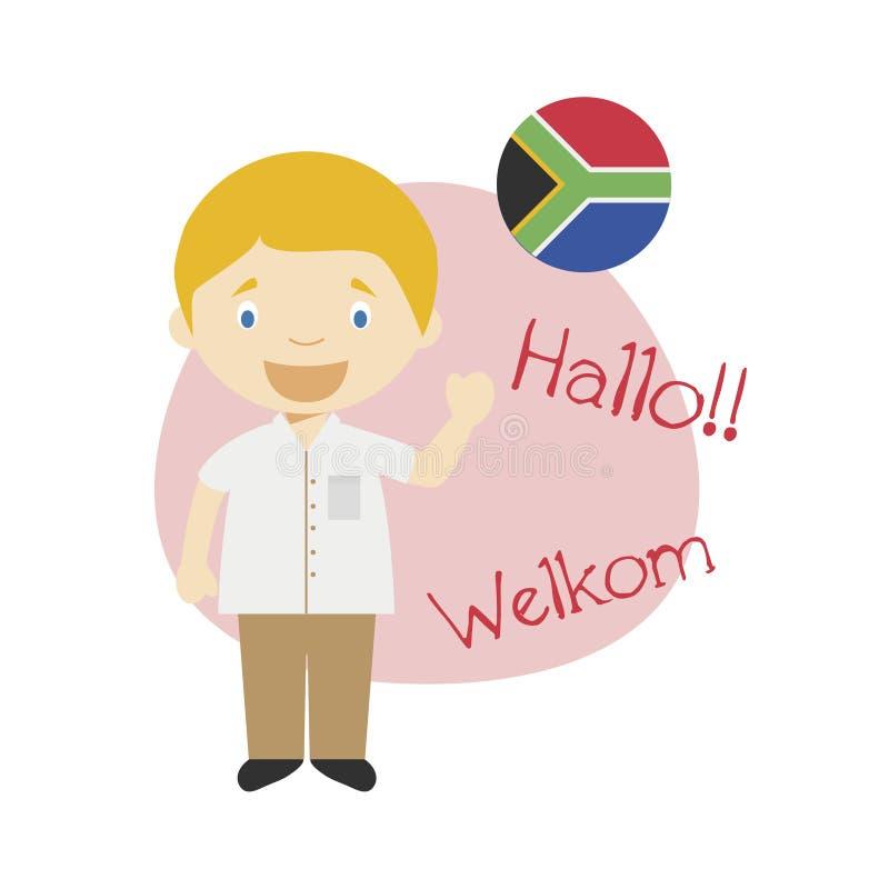 Wektorowa ilustracja mówi cześć i powitanie w Afrikaans postać z kreskówki ilustracji