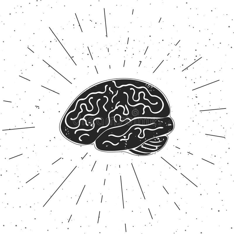 Wektorowa ilustracja mózg z promieniami Te są ikonowi przedstawicielstwa twórczość, pomysły, edukacja i uczenie, ilustracja wektor