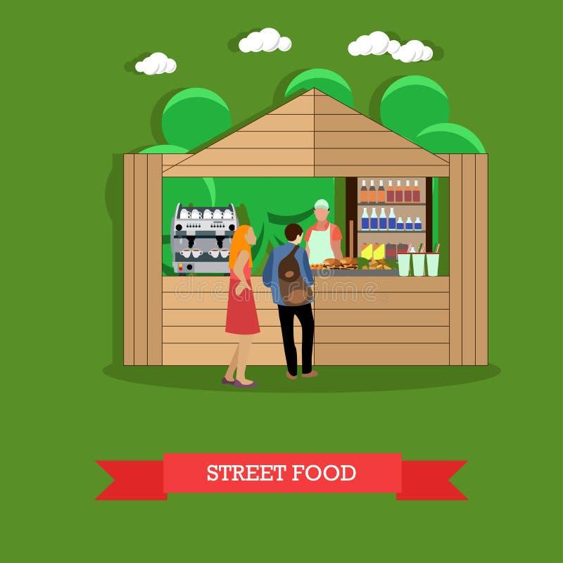 Wektorowa ilustracja mężczyzna i kobieta blisko ulicznego jedzenia opóźniamy ilustracji
