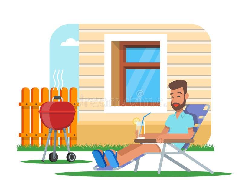 Wektorowa ilustracja mężczyzna kulinarny grill i mieć odpoczynek ilustracji