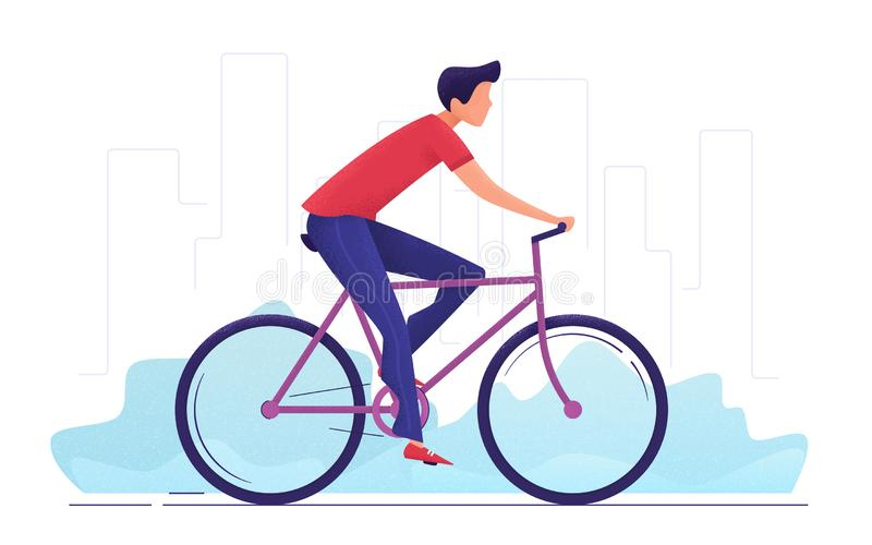 Wektorowa ilustracja młodego człowieka kolarstwo wokoło miasta ilustracji