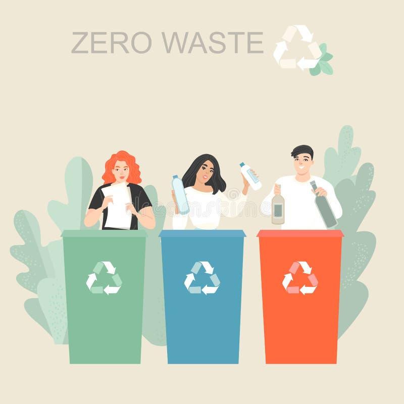 Wektorowa ilustracja młodzi ludzie sortuje śmieci i stawia je w koszach na śmieci lub zbiornikach ilustracja wektor