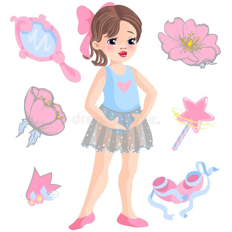 Wektorowa ilustracja mała balerina i inne powiązane rzeczy magiczna różdżka, gwiazda, błyskotliwość, kwiat róża, lustro royalty ilustracja