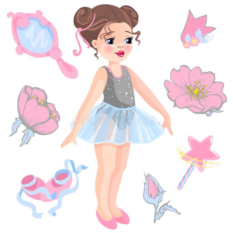 Wektorowa ilustracja mała balerina i inne powiązane rzeczy magiczna różdżka, gwiazda, błyskotliwość, kwiat róża, lustro ilustracji