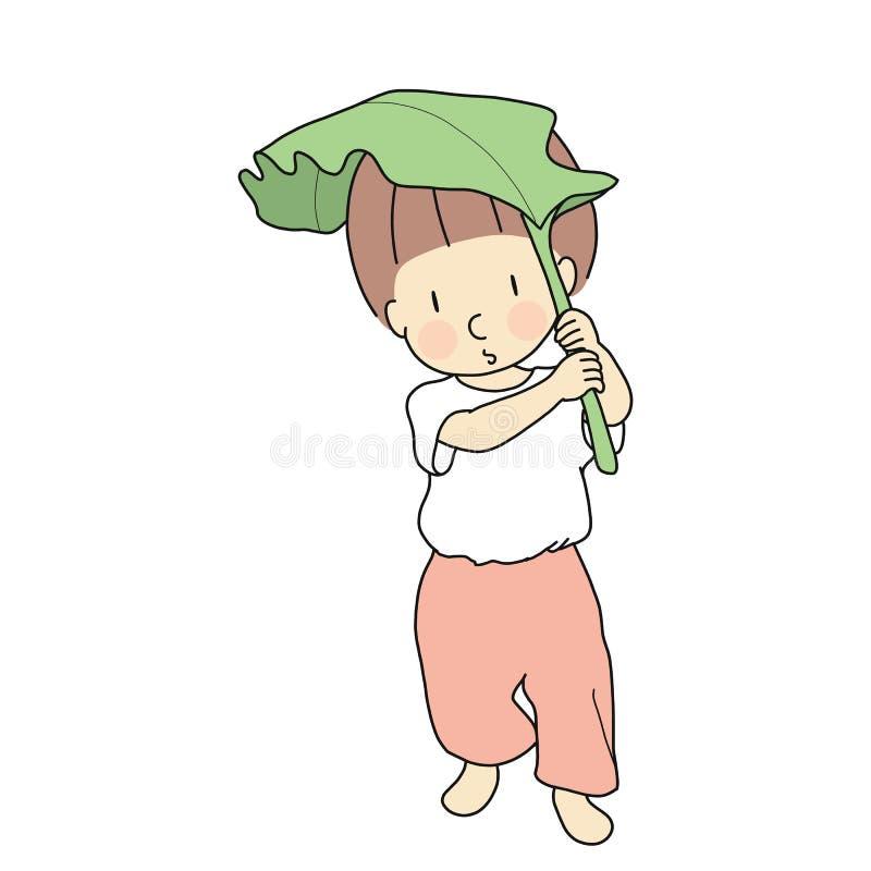 Wektorowa ilustracja małe dziecko używa bananowego liść jako parasol Dziecka bawić się, wczesne dzieciństwo rozwój, edukacja & uc ilustracja wektor