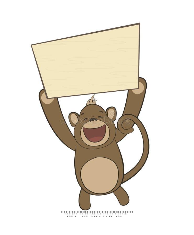 Wektorowa ilustracja małpi mienie plakat z przestrzenią ilustracji