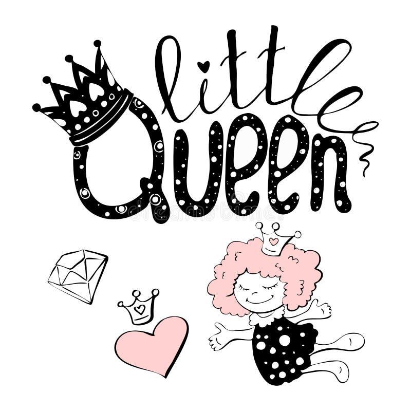 Wektorowa ilustracja mały królowa tekst dla dziewczyn odziewa ilustracja wektor