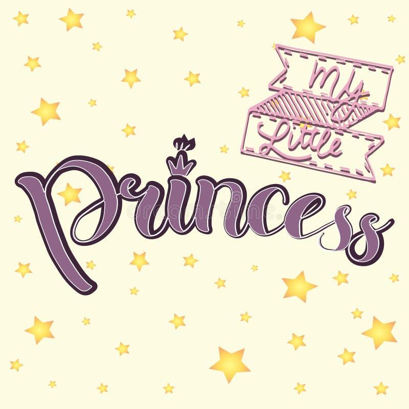 Wektorowa ilustracja Mały Princess tekst dla dziewczyn odziewa Królewska odznaka, karta, pocztówka, etykietka, ikona Kobieca kali obraz stock