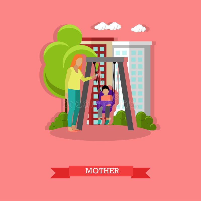 Wektorowa ilustracja macierzysty chlanie jej syn w boisku ilustracja wektor