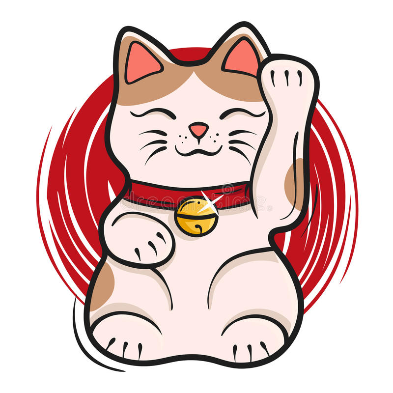 Wektorowa ilustracja maneki neko Japońska szczęsliwa kot pomyślność ilustracji