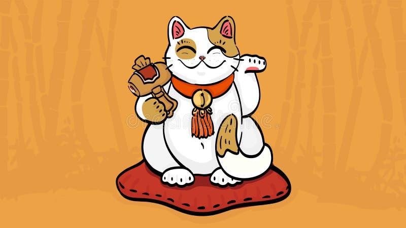 Wektorowa ilustracja maneki neko talizmanu kot skinie bogactwo i szczęście ilustracji