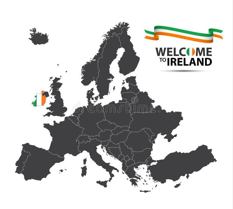 Wektorowa ilustracja mapa Europa z stanem Irlandia ilustracji