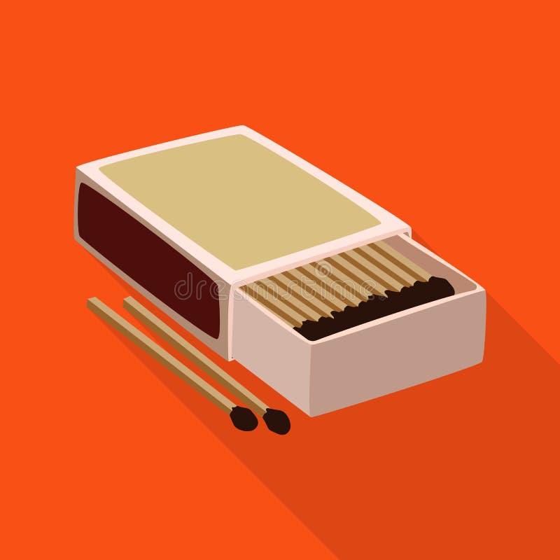 Wektorowa ilustracja matchbox i pudełka logo Set matchbox i matchstick akcyjna wektorowa ilustracja royalty ilustracja