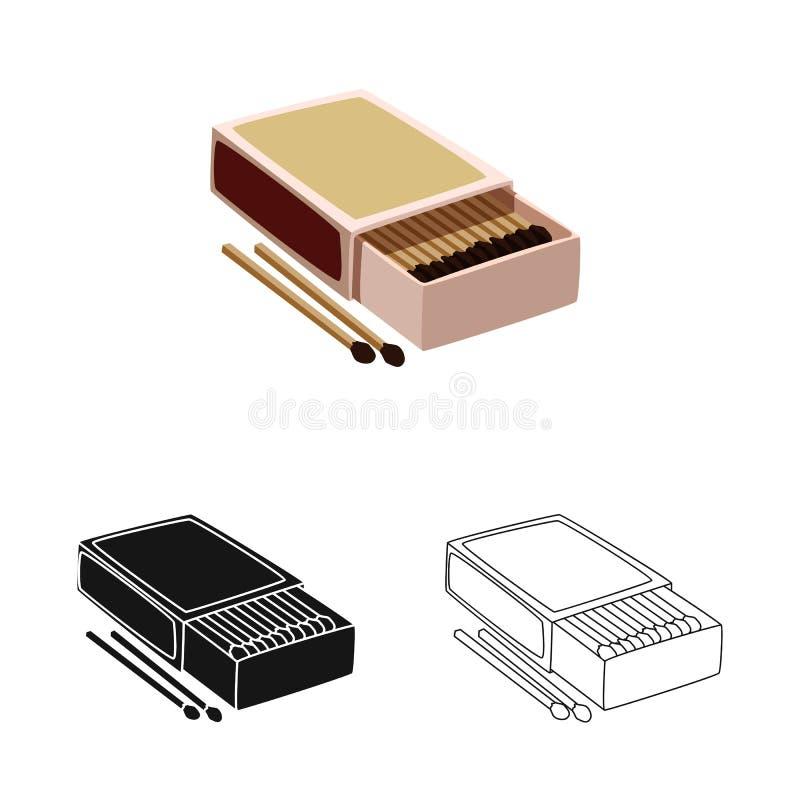 Wektorowa ilustracja matchbox i pudełka symbol Kolekcja matchbox i matchstick akcyjny symbol dla sieci ilustracja wektor