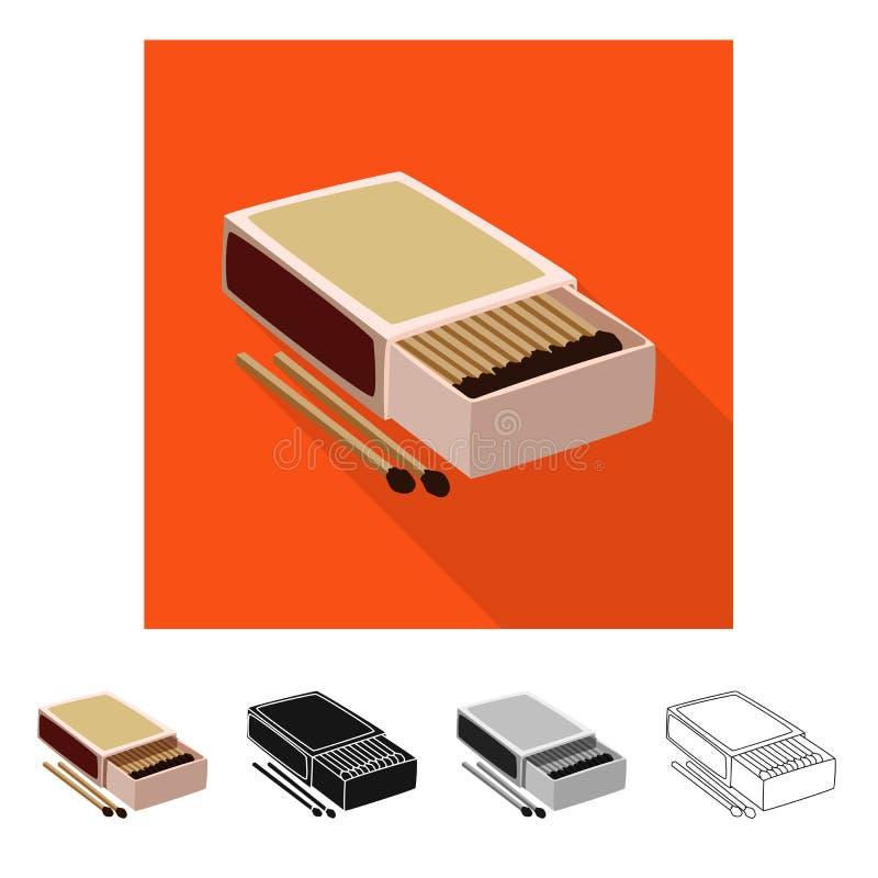Wektorowa ilustracja matchbox i pudełka symbol Set matchbox i matchstick akcyjny symbol dla sieci ilustracji