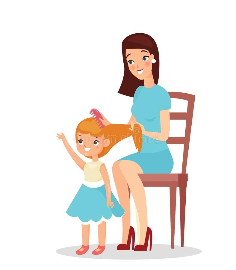 Wektorowa ilustracja matka z córką odizolowywającą na białym tle Mama trzyma jej sztuk z ona i córki royalty ilustracja