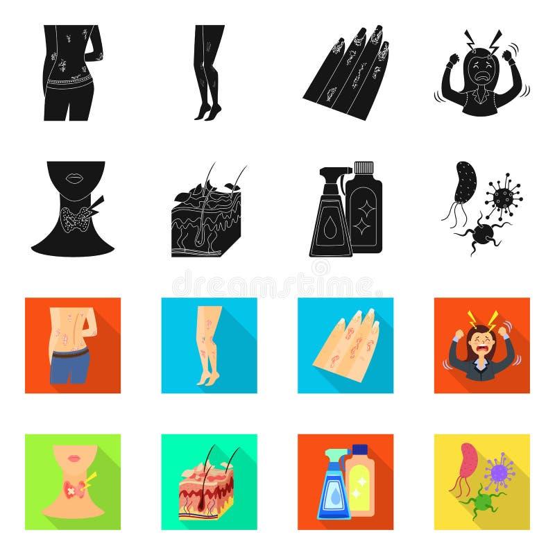 Wektorowa ilustracja medyczny i b?lowy symbol Kolekcja medyczny i choroba akcyjny symbol dla sieci ilustracja wektor
