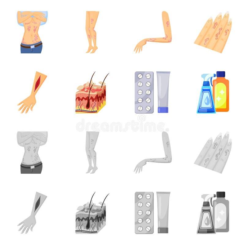 Wektorowa ilustracja medyczny i b?lowy symbol Set medyczny i choroba akcyjny symbol dla sieci royalty ilustracja