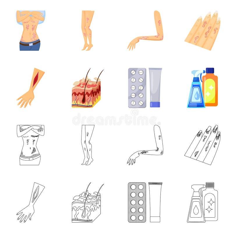 Wektorowa ilustracja medyczny i b?lowy znak Set medyczna i choroba wektorowa ikona dla zapasu royalty ilustracja