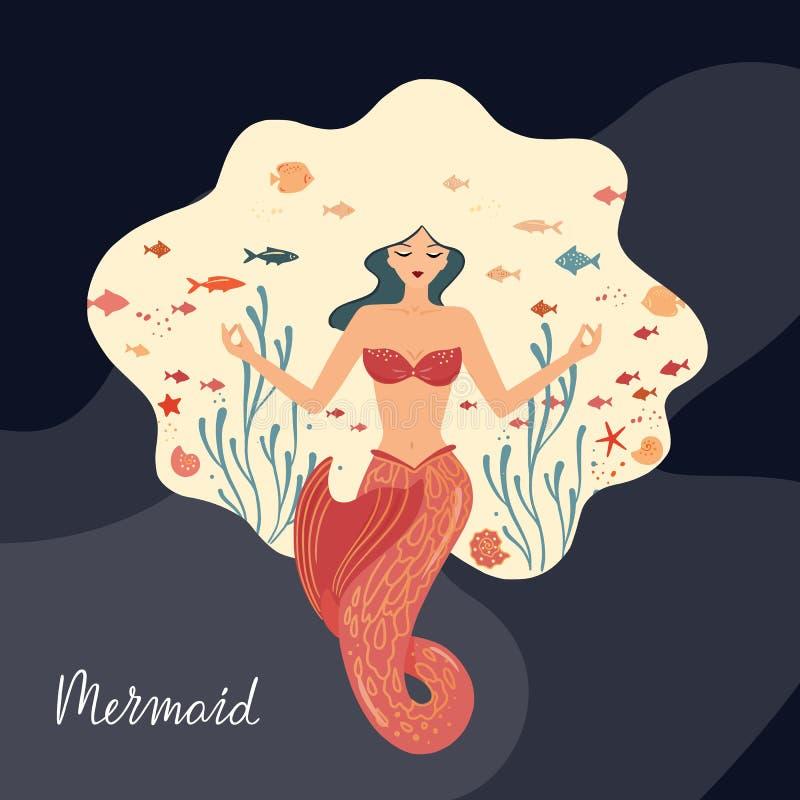 Wektorowa ilustracja medytuje syrenka z bieżącym włosy przy dnem ocean ilustracja wektor