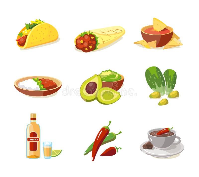 Wektorowa ilustracja Meksykański tradycyjny jedzenie royalty ilustracja