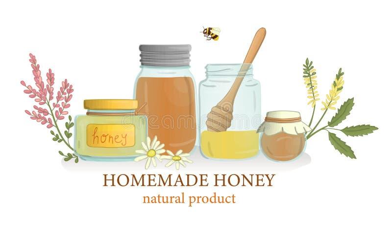 Wektorowa ilustracja miód zgrzyta z dzikimi kwiatami i pszczołą royalty ilustracja
