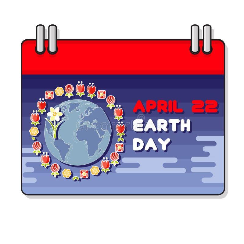 Wektorowa ilustracja Międzynarodowy Ziemski dzień Planeta i kwiat royalty ilustracja