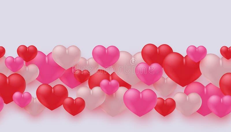 Wektorowa ilustracja miłości i przyjaźni sztandar z kolorowymi kierowymi kształtami royalty ilustracja
