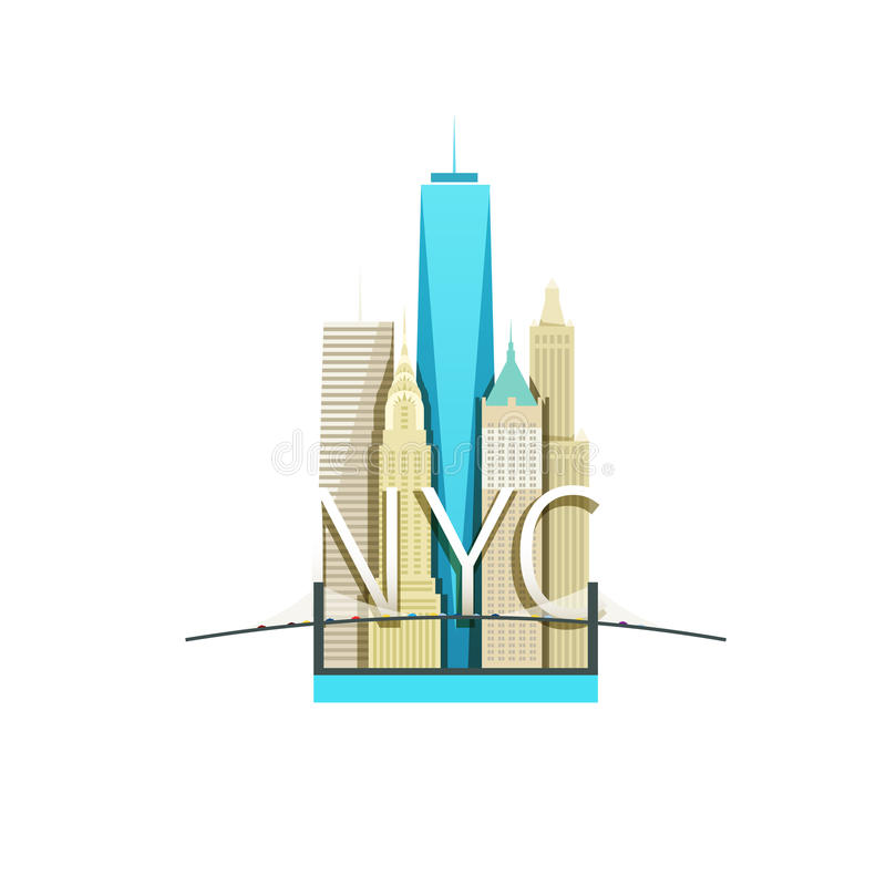 Wektorowa ilustracja Miasto Nowy Jork z drapaczami chmur i mostem ilustracja wektor