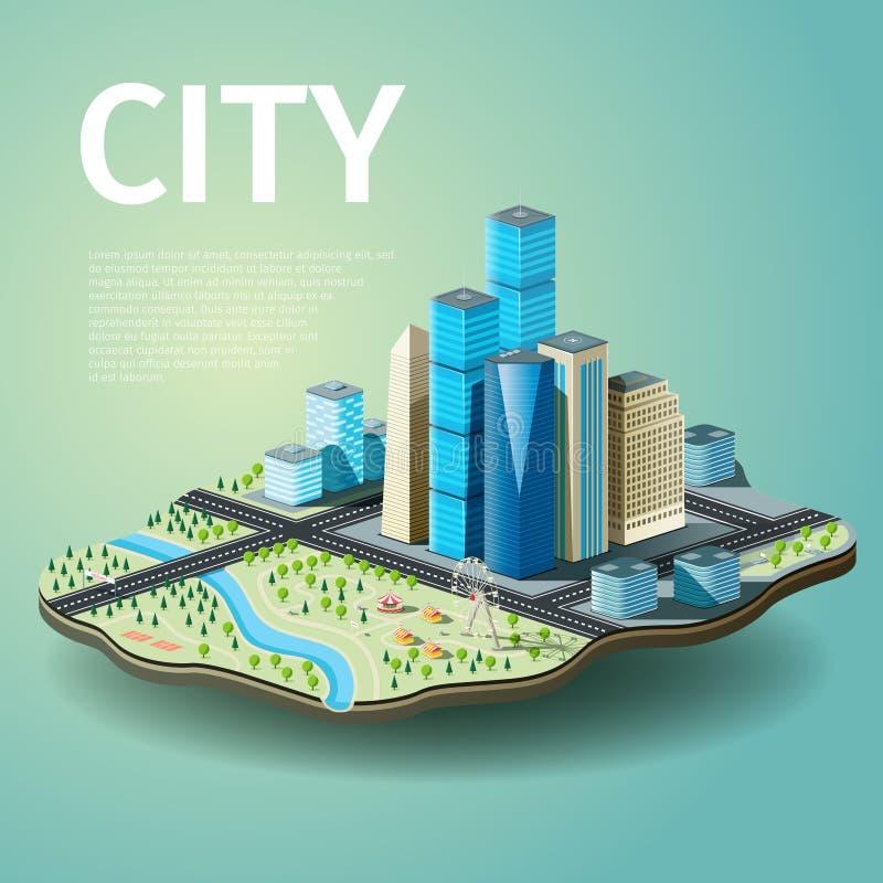 Wektorowa ilustracja miasto z drapaczami chmur i parkiem rozrywki royalty ilustracja