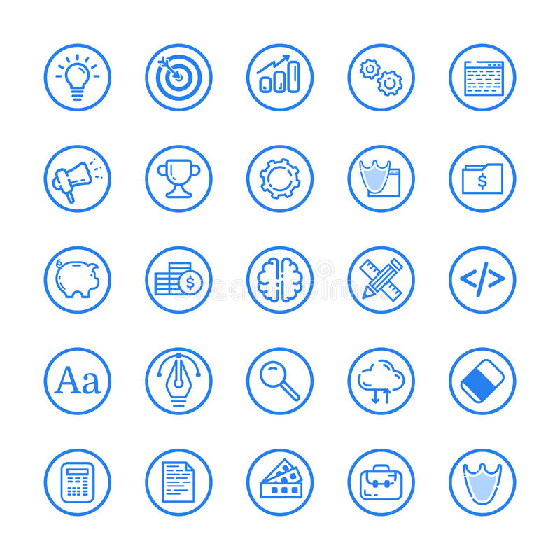 Wektorowa ilustracja mieszkanie linii ustalona ikona Graficznego projekta pojęcie biznes royalty ilustracja