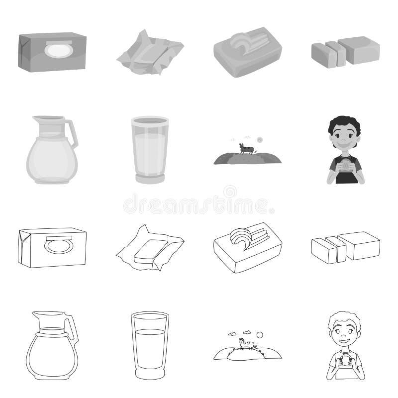Wektorowa ilustracja ?mietankowy i produkt logo Set ?mietankowy i rolny akcyjny symbol dla sieci ilustracji