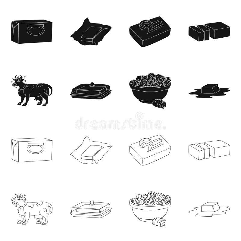 Wektorowa ilustracja ?mietankowy i produkt symbol Kolekcja ?mietankowego i rolnego zapasu wektoru ilustracja ilustracja wektor