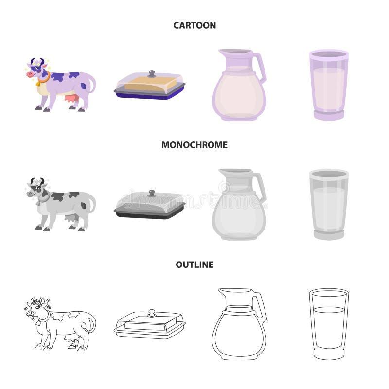 Wektorowa ilustracja ?mietankowy i produkt symbol Set ?mietankowa i rolna wektorowa ikona dla zapasu ilustracji