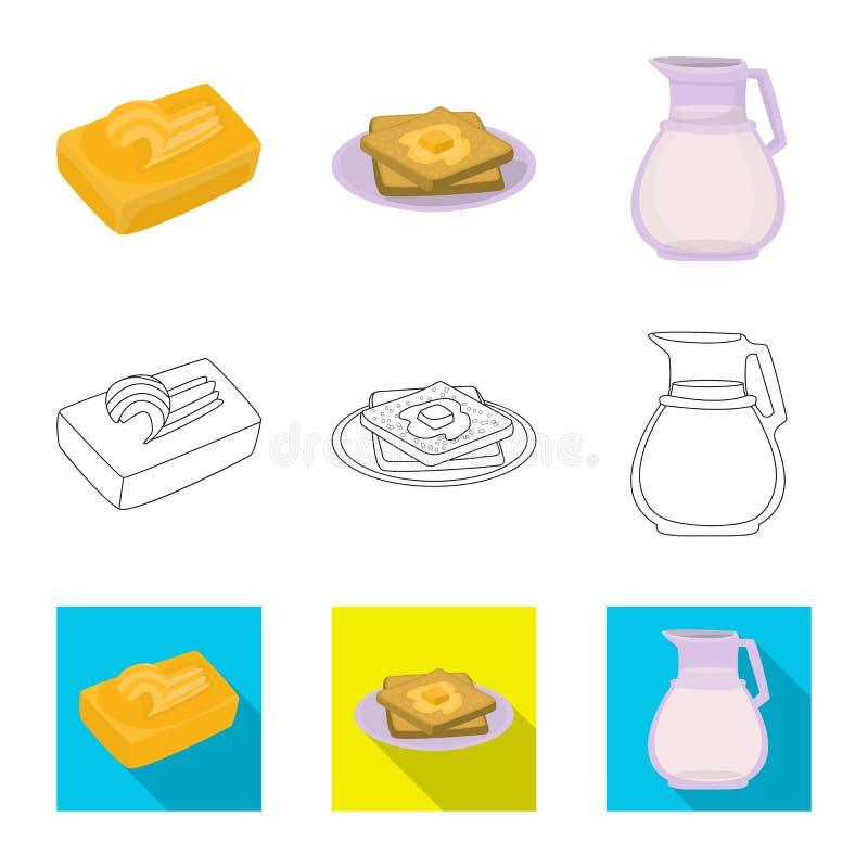 Wektorowa ilustracja ?mietankowy i produkt znak Set ?mietankowy i rolny akcyjny symbol dla sieci ilustracja wektor