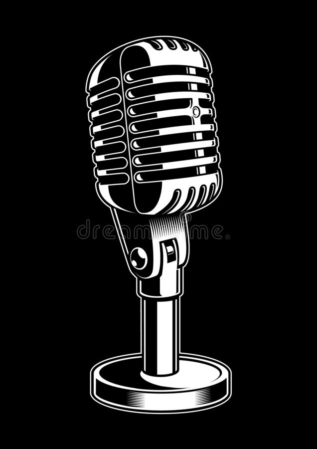 Wektorowa ilustracja mikrofon na czarnym tle ilustracji