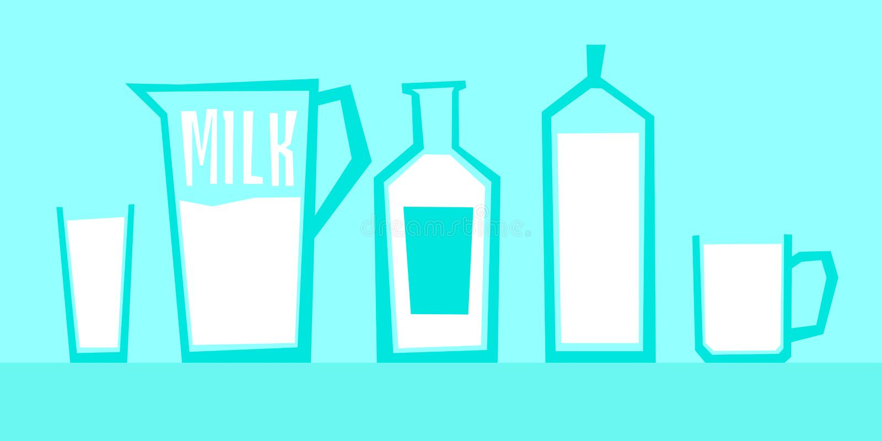 Wektorowa ilustracja mleko w różnych szklanych zbiornikach ilustracja wektor