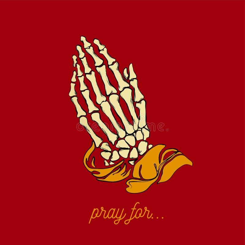 Wektorowa ilustracja - modlenie kośca ręki zdjęcie royalty free