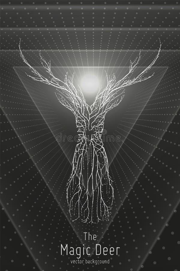Wektorowa ilustracja monochromatyczny geometryczny rogacz budujący z rozgałęziać się wykłada Abstrakcjonistyczny wektor rogacz w  royalty ilustracja