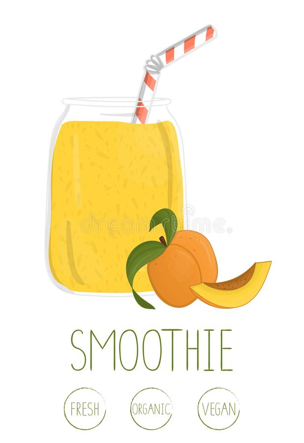 Wektorowa ilustracja morelowy smoothie w szklanym słoju ilustracja wektor
