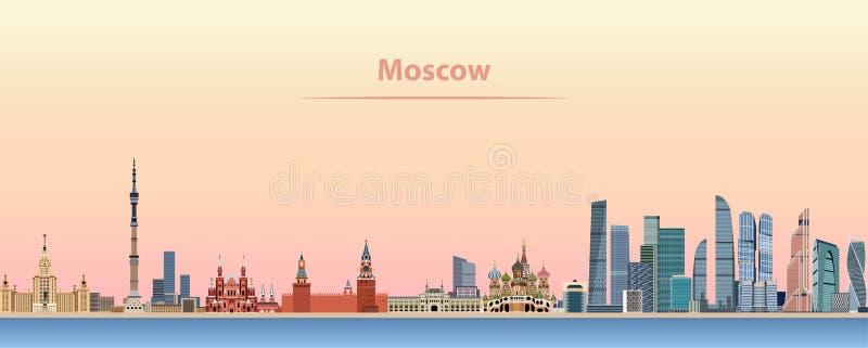 Wektorowa ilustracja Moskwa linia horyzontu przy wschodem słońca