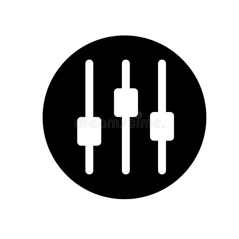 Wektorowa ilustracja Muzyczny wyrównywacz Muzyczny Tomowy ikony mieszkanie Gracz ikona czarny i biały ikona również zwrócić corel obraz royalty free