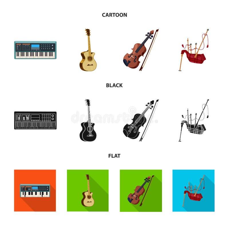 Wektorowa ilustracja muzyki i melodii ikona Kolekcja muzyka i narzędziowy akcyjny symbol dla sieci ilustracja wektor