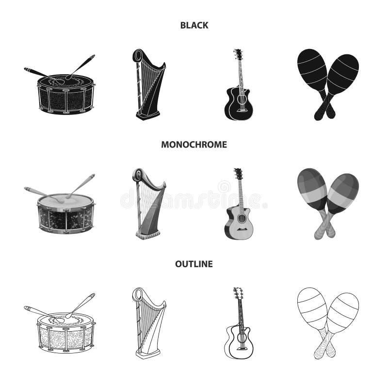 Wektorowa ilustracja muzyki i melodii ikona Set muzyka i narzędzie akcyjna wektorowa ilustracja royalty ilustracja