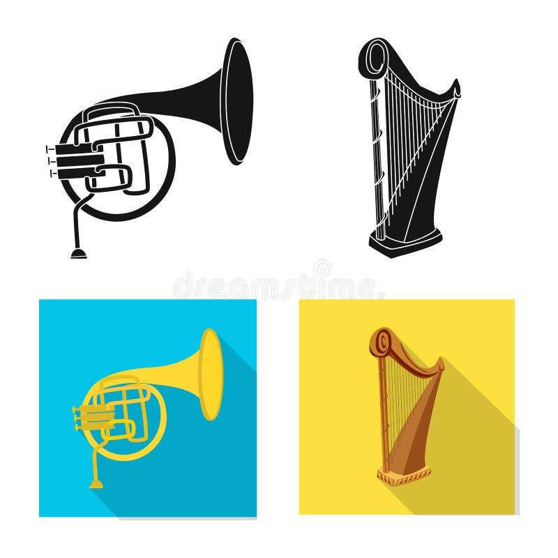 Wektorowa ilustracja muzyki i melodii logo Kolekcja muzyka i narzędzie akcyjna wektorowa ilustracja ilustracja wektor