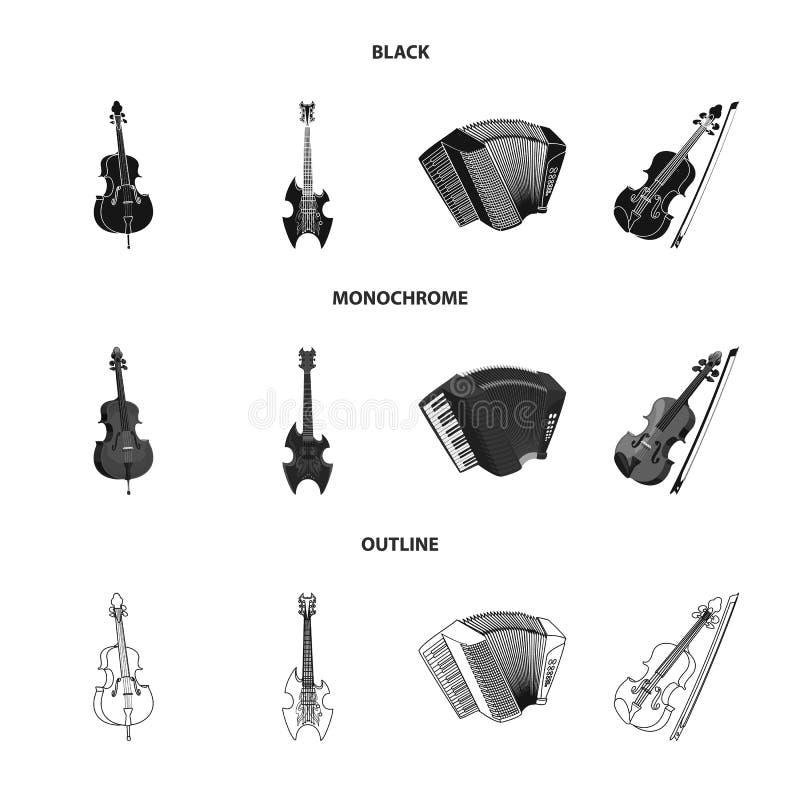 Wektorowa ilustracja muzyki i melodii logo Kolekcja muzyka i narzędziowy akcyjny symbol dla sieci royalty ilustracja