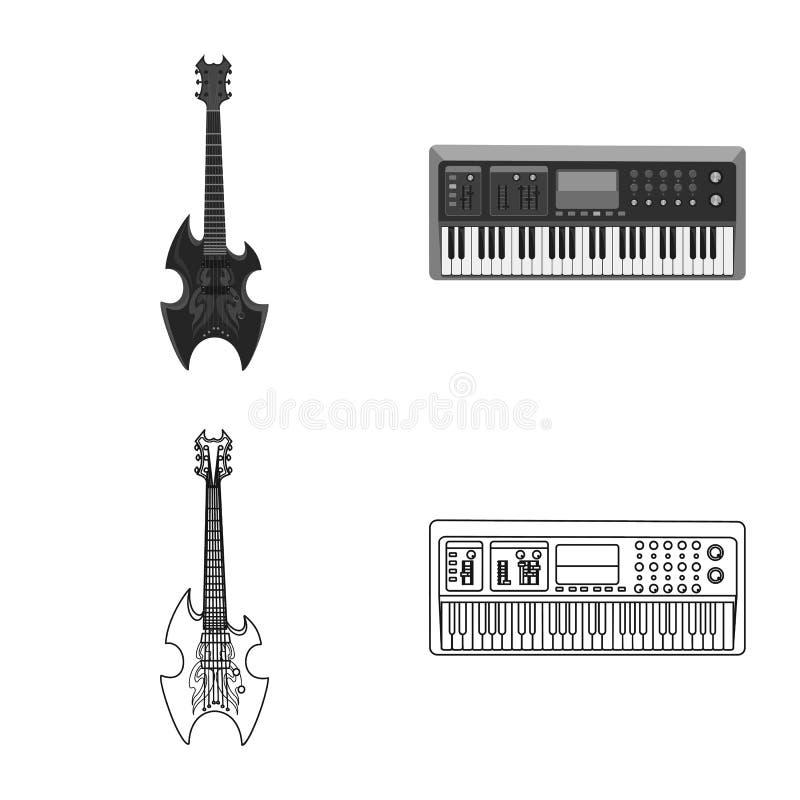 Wektorowa ilustracja muzyki i melodii logo Set muzyka i narzędzie akcyjna wektorowa ilustracja ilustracja wektor