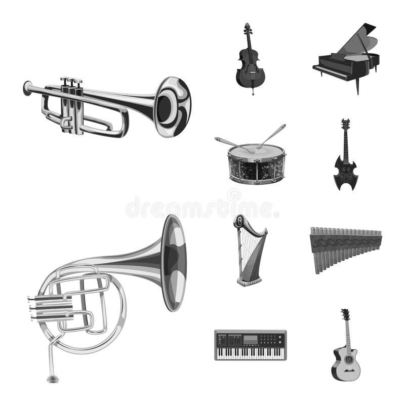 Wektorowa ilustracja muzyki i melodii znak Kolekcja muzyka i narzędziowy akcyjny symbol dla sieci royalty ilustracja