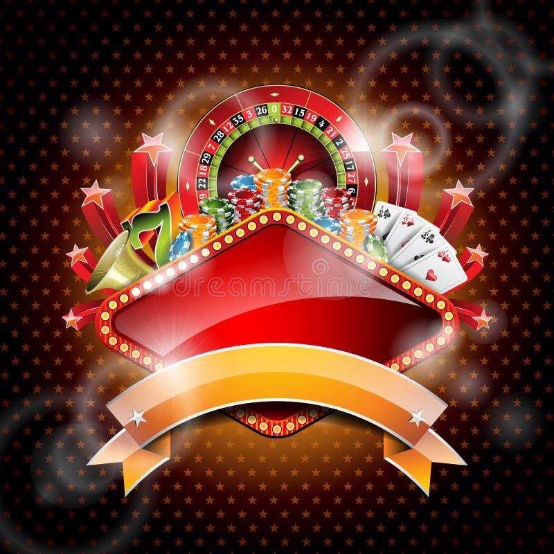 Wektorowa ilustracja na kasynowym temacie z ruletowym kołem i faborkiem. ilustracja wektor