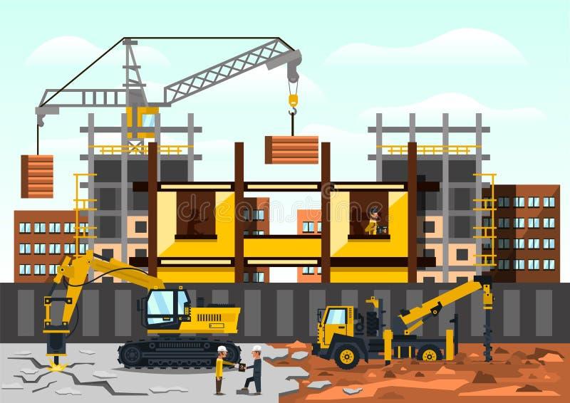 Wektorowa ilustracja na temacie budowa Budowa budynek na tle miasto zdjęcie royalty free